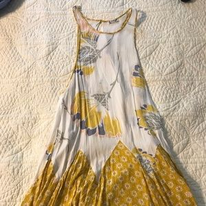 Free People Yellow and White Tunic